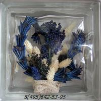 Стеклоблок Vitrablok декоративный бесцветный с наполнением внутри растения рт_001 н