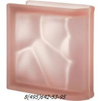 Стеклоблок Vetroarredo волна окрашенный в массе торцевой rosa q19/0 sat матовый с одной или с двух сторон