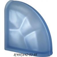 Стеклоблок Vetroarredo волна окрашенный в массе завершающий blu q19/0 sat матовый с одной или с двух сторон