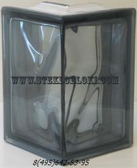 Стеклоблок Vitrablok окрашенный в массе угловой 90° волна графит