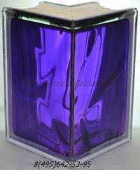 Стеклоблок Vitrablok окрашенный внутри угловой 90° волна аметист