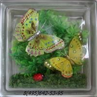 Стеклоблок Vitrablok декоративный бесцветный с наполнением внутри бабочки рт_016 в