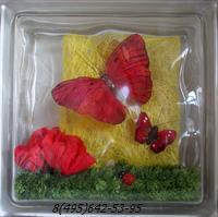 Стеклоблок Vitrablok декоративный бесцветный с наполнением внутри бабочки рт_018 в