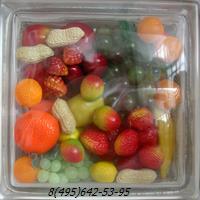 Стеклоблок Vitrablok декоративный бесцветный с наполнением внутри фрукты рт_002 в