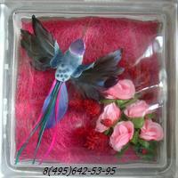 Стеклоблок Vitrablok декоративный бесцветный с наполнением внутри птица рт_012 в