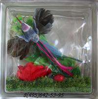 Стеклоблок Vitrablok декоративный бесцветный с наполнением внутри птица рт_019 в