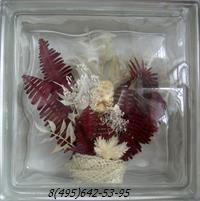 Стеклоблок Vitrablok декоративный бесцветный с наполнением внутри растения рт_001 в